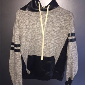 Random Access Gray leather hoodie
